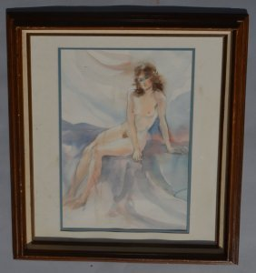 Signed Watercolor Painting Of A Nude Woman
