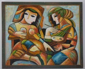 Signed Cubist Painting In Manner Of Picasso