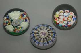 3 Unsigned Millefiori Paperweights