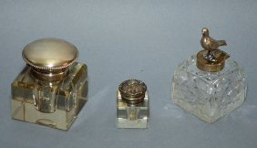 3 Antique Cut Glass & Sterling Silver Inkwells