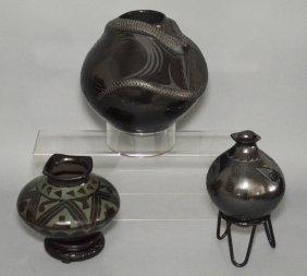 3 Santa Clara Mata Ortiz Pottery Vessels