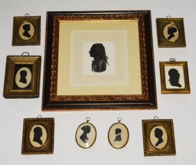 Large Collection Of Framed Silhouettes Portraits