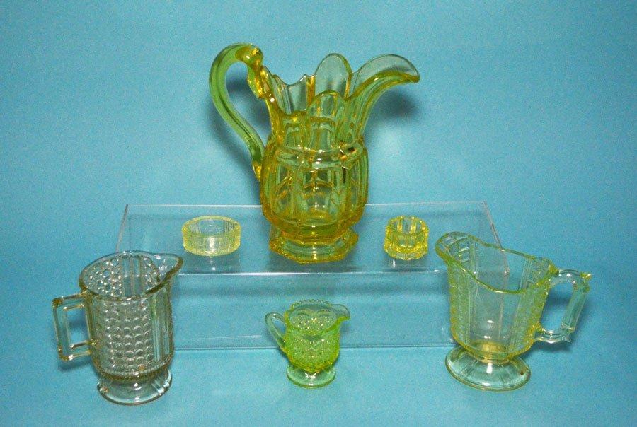 6 Piece Green Vaseline Glass (Pitcher, Salt, Creamer,