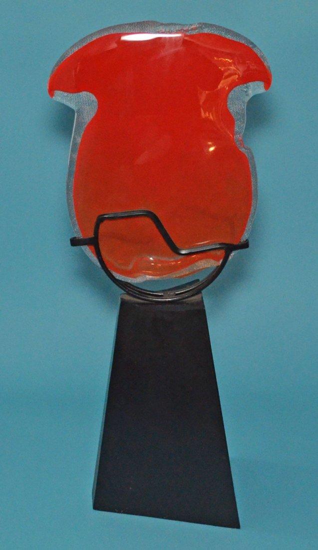 Iron Table Top Sculpture  w Orange Art Glass