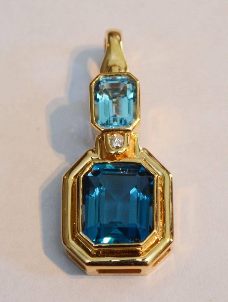 14k Gold, Blue Topaz and Diamond Pendant Necklace