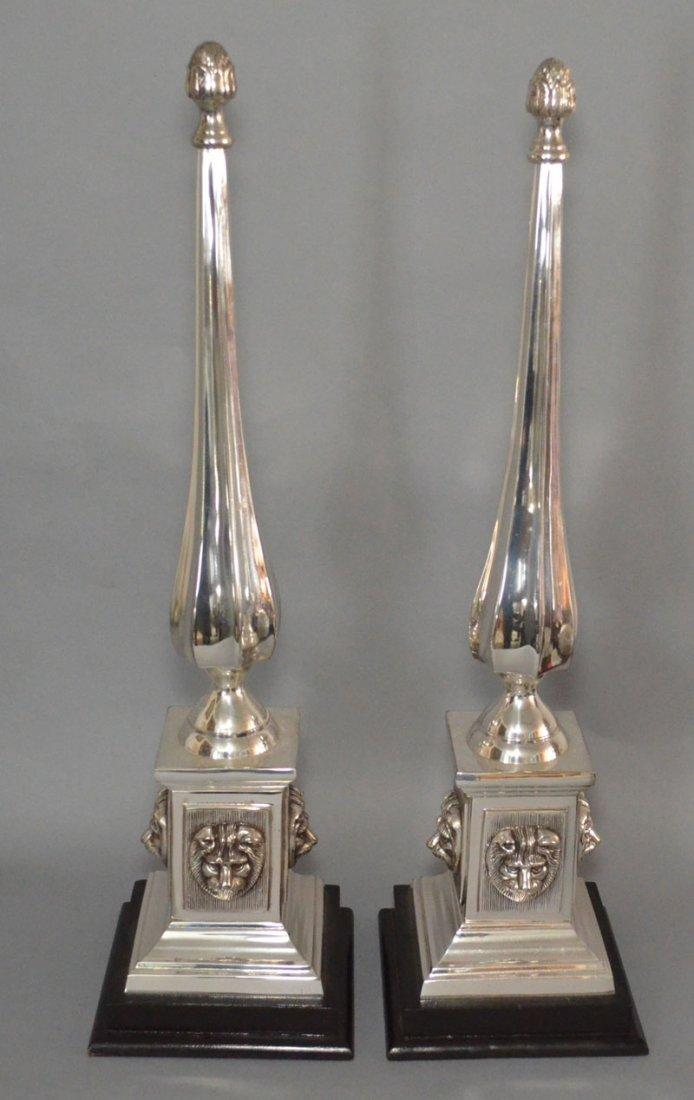 Pair of Silver Plate Lion Head Obelisks