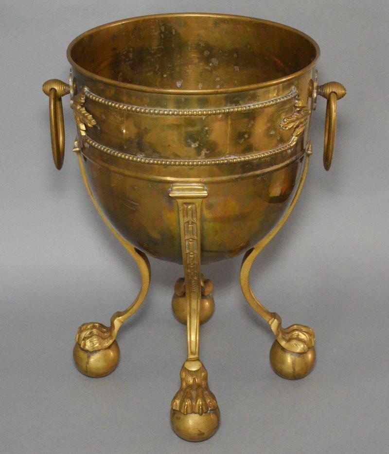 Antique Brass Claw Foot Wine Bucket Planter