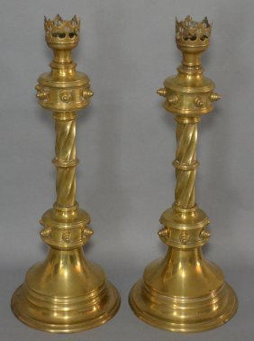 Pair Of Gothic Brass Candlestick Holders
