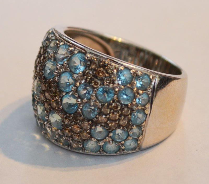 Cool Retro 18k Gold Diamond & Aqua Ring