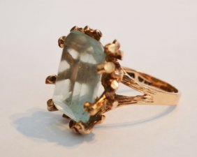 14k Gold Branch Design & Blue Stone Ring