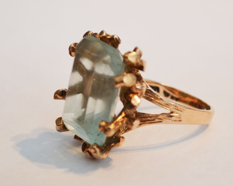14k Gold Branch Design & Blue Stone Ring