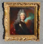 Signed Portrait of a Louis XIV in Armor