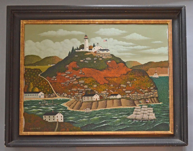 """Original Charles Wysocki Oil Painting """"Sailing in the"""