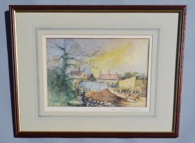 Peter Catterall Watercolor Painting Of A Farm