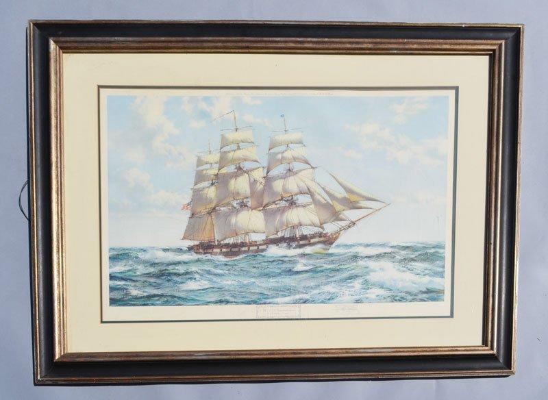 USS Constellation by Montague Dawson Signed