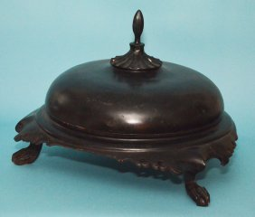Antique Black Lacquer Chinese Meat Dome