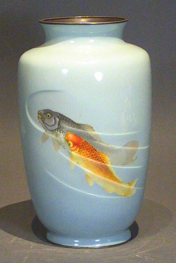 6: Impressive Cloisonné Signed Vase With Fish ( Ando?)