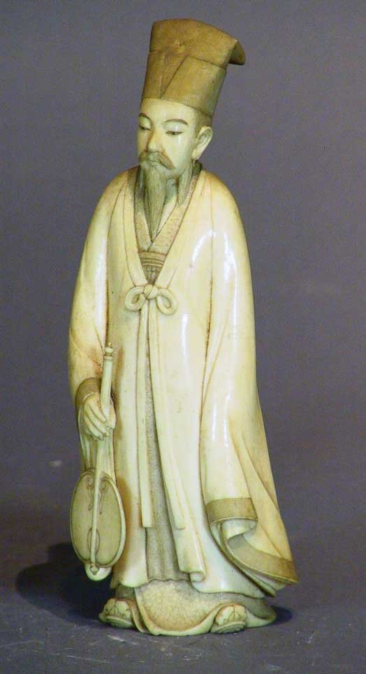 8: Exceptionally Carved Signed Ivory Figure Robed Man
