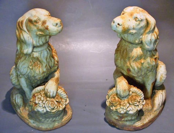 15: Great Pair Of Cast Iron Retriever Dogs With Baskets