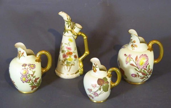 16: Set Of Four 19th C. Royal Worcester Pitchers
