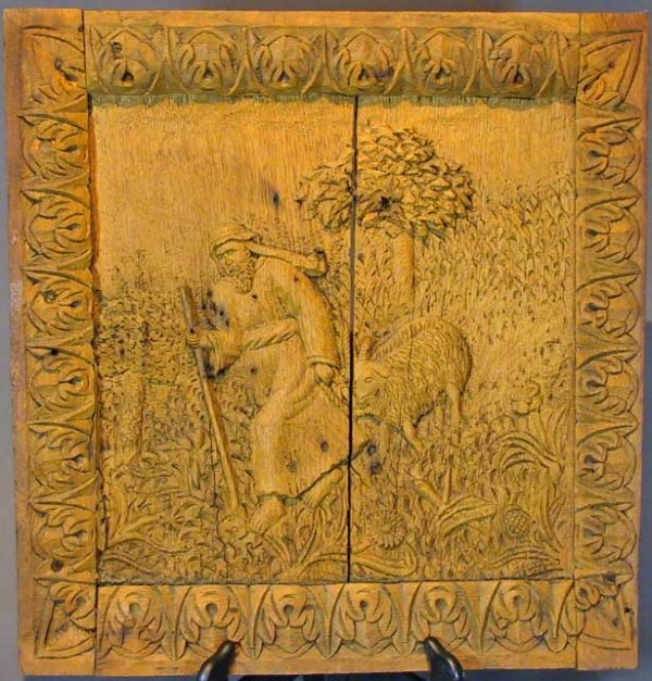 19: 18th Century Carved Wood Plaque Of A Shepherd