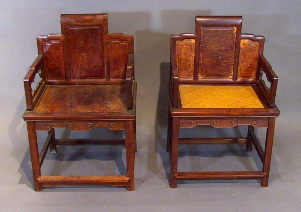 20: Pair Of Stylish Antique Hardwood Chinese Arm Chairs