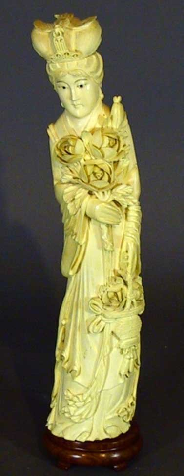 22: Antique Carved Ivory  Figure Oriental Woman