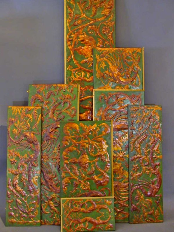 140: Antique Gold And Green Oriental Leather Panels