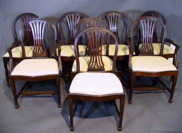 145: 18th Cent.? 8 Hepplewhite Mahogany Dining Chairs