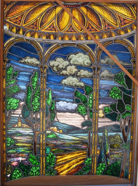 Impressive Stained Glass Window with Country Scene