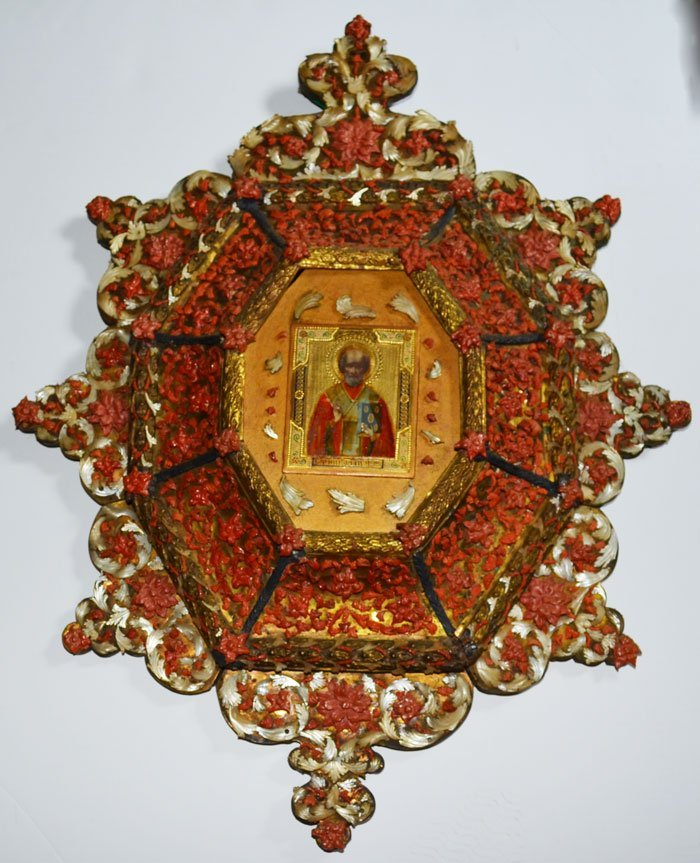 Russian Coral & Mother of Pearl Icon