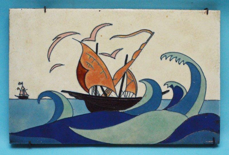 California Faience Ship Art Tile