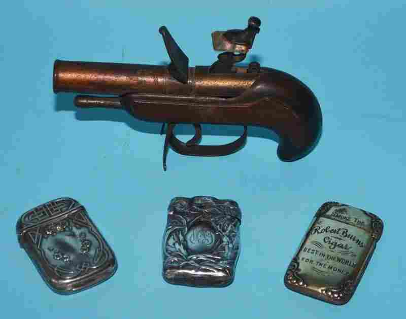 Smoking Collectible Lot (Dunhill Pistol Lighter, Match
