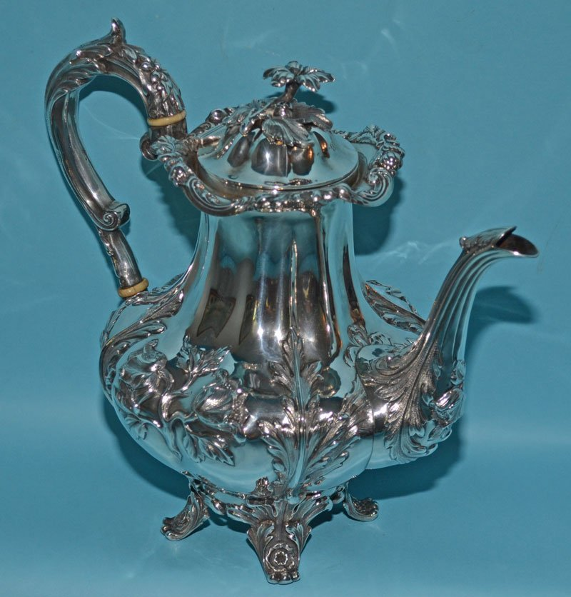 British Sterling Silver Repousse Coffee Pot