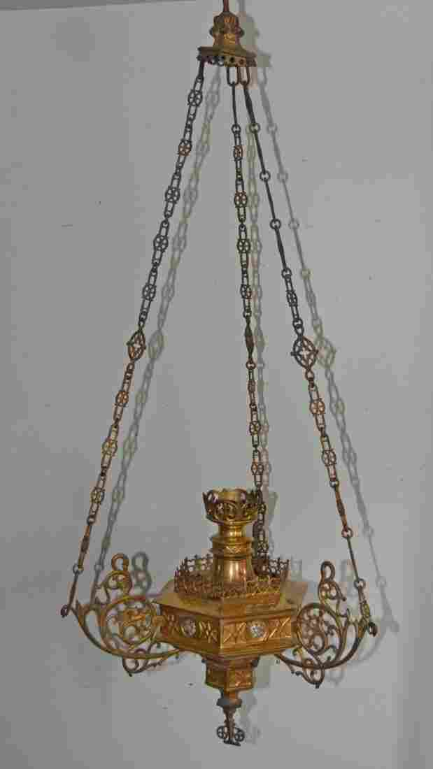 Gothic Ecclesiastical Bronze Chandelier / Light Fixture