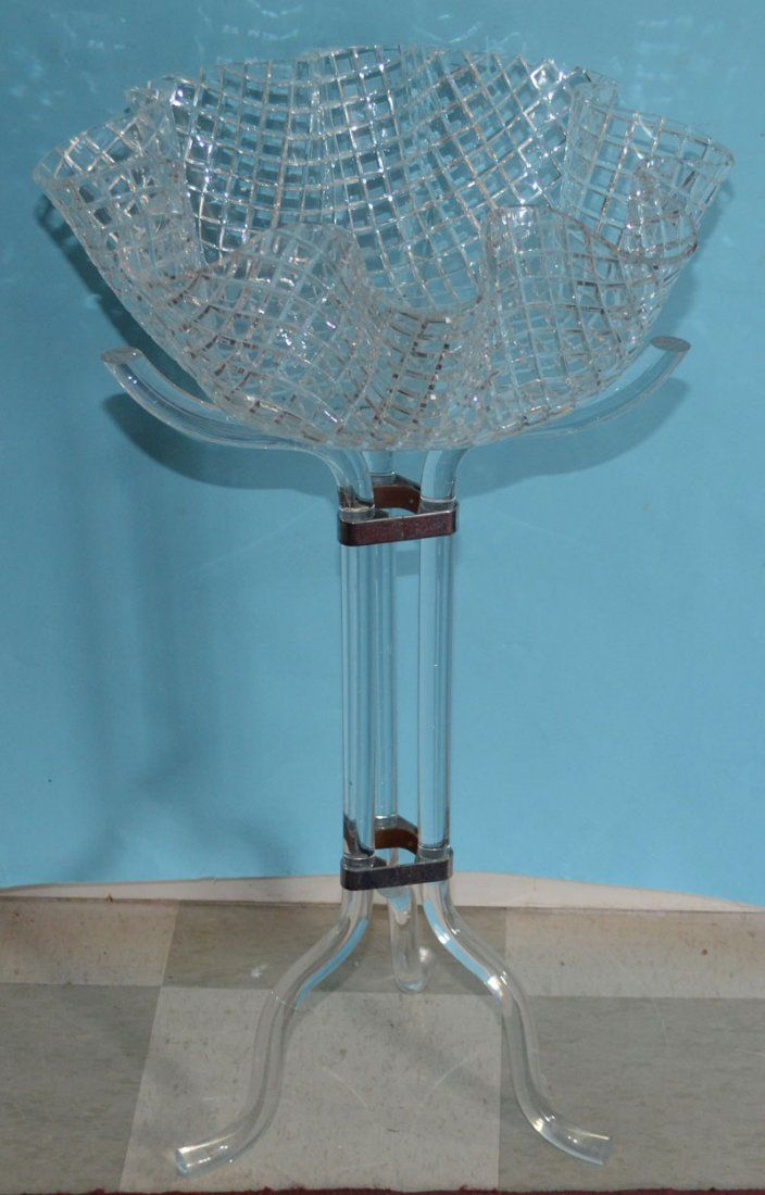 Lucite Plant Stand with Bowl