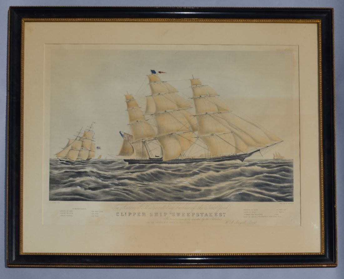 N. Currier Clipper Ship Sweepstakes Lithograph