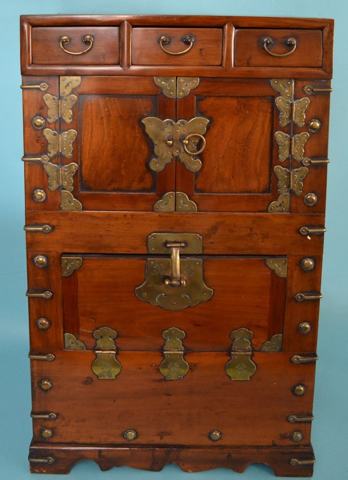 Incredible Chinese Wood & Brass Chest