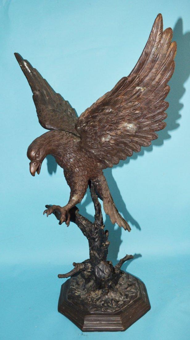 Monumental Signed Moigniez Bronze Eagle Statue