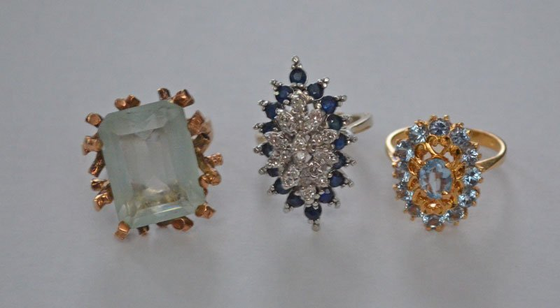 Group of 14k Gold Rings w Diamond, Spinel, Sapphire