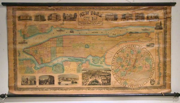 32: Phelps Pull Down New York City Map 1857