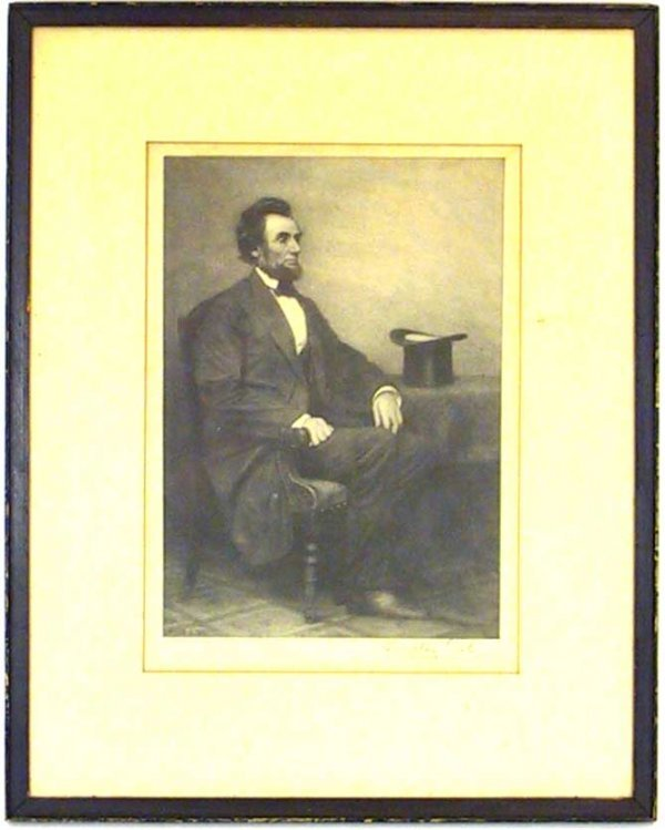 36: Signed Timothy Cole Engraving Of Abe Lincoln