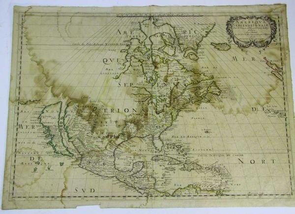 43: Rare Antique 1650 French Map of America