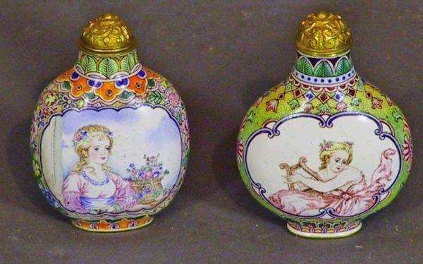 117: Two Antique Enameled Oriental Snuff Bottles