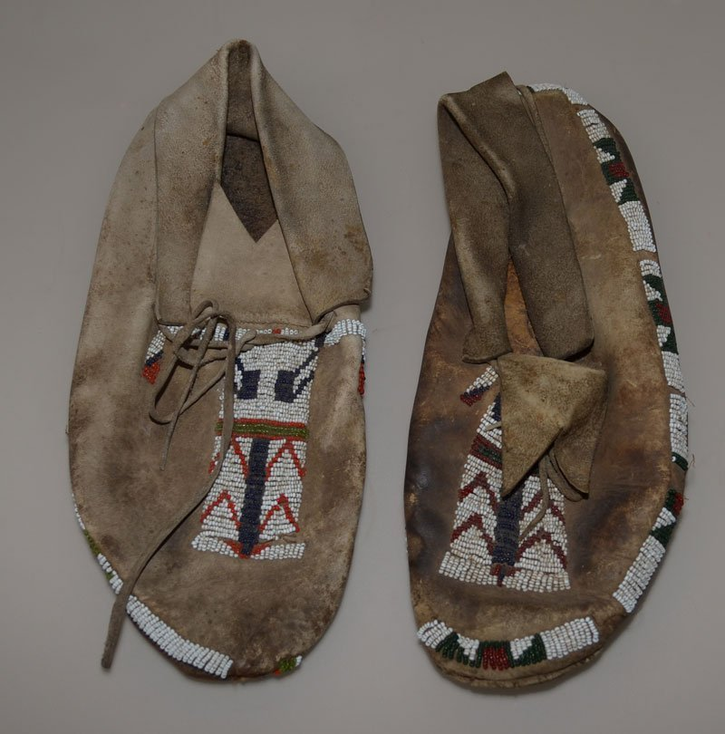 Antique Native American Beaded Leather Moccasins