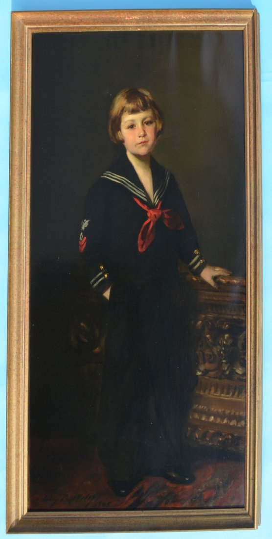 1905 Irving Ramsey Wiles Full Length Portrait of a Boy