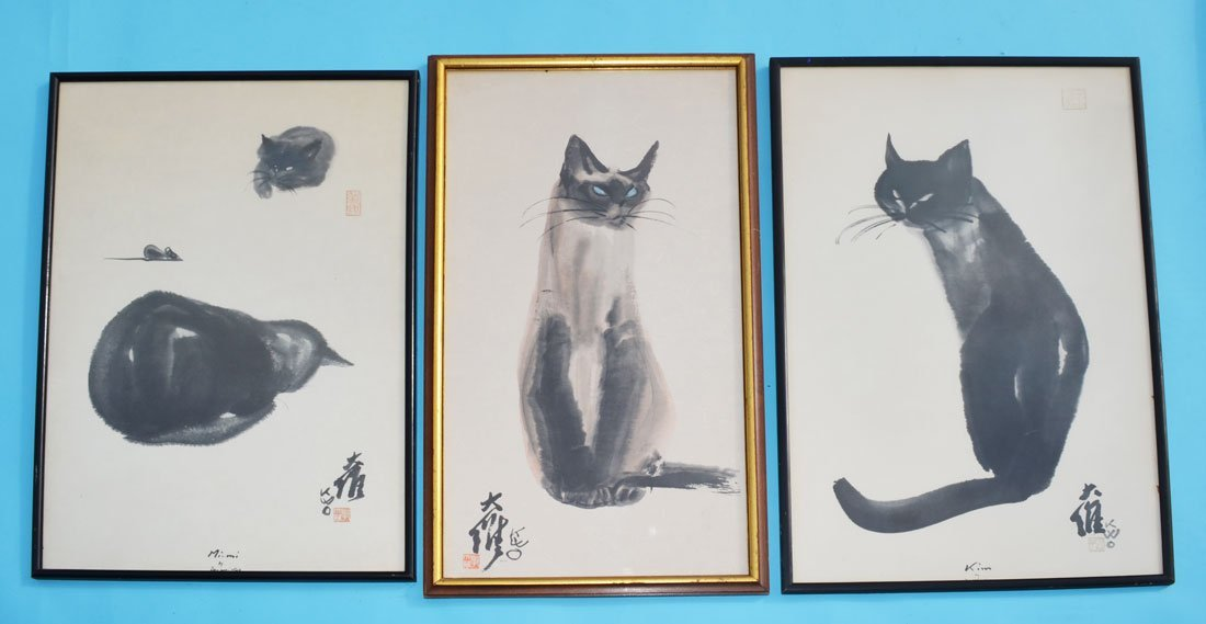 3 Chinese Da Wei Kwo Vintage Cat Watercolor Prints