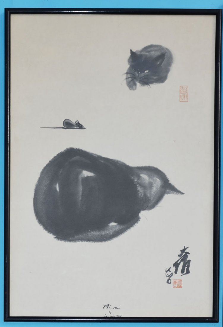 3 Chinese Da Wei Kwo Vintage Cat Watercolor Prints - 2