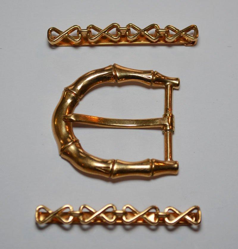 Vintage Tiffany & Co. 14K Gold Hair Clips & Belt Buckle