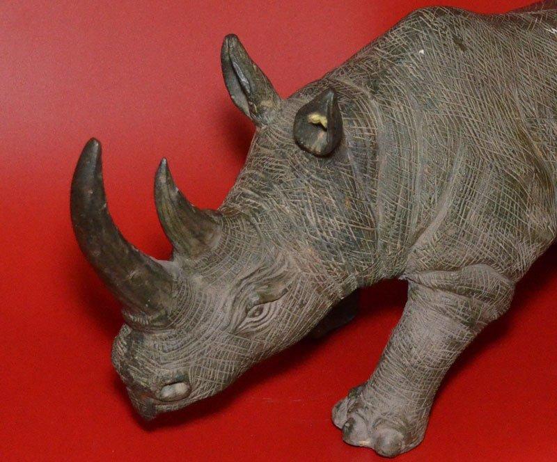 Substantial Vintage Bronze Charging Rhinoceros - 2